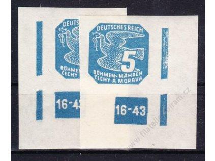 1943, 5h modrá, 2 roh. kusy s DČ 16-43, ochranný rám 2krát přerušen, Nr.NV11, **