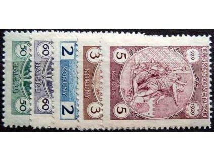 1929, 50h-5Kč série sv.Václav, Nr.243-7, * po nálepce