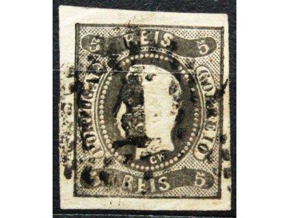 1866, 5R Luis, hezké střihy, MiNr.17, razítkovaná