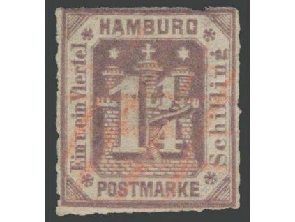 Hamburg, 1866, 1 1/4S fialová, MiNr.20, razítkované, dv