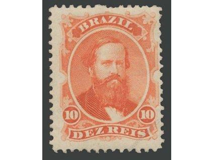 Brasílie, 1866, 10 R Pedro, MiNr.23, * po nálepce