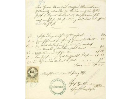 1867, listina s kolkem 15K, razítko Znaim, A5