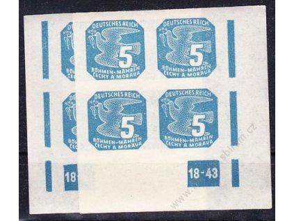 1943, 5h modrá, 2 roh. 4bloky s DČ 18-43, L+P, Nr.NV11, **