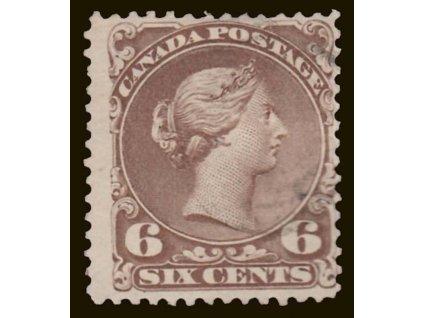 Kanada, 1868, 6C Viktoria, MiNr.22, razítkované, lehce zeslabeno