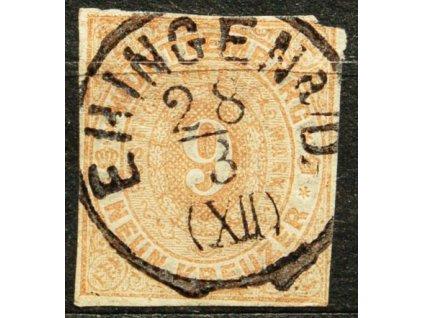 Württemberg, 1869, 9Kr světle hnědá, MiNr.40, razítkovaná