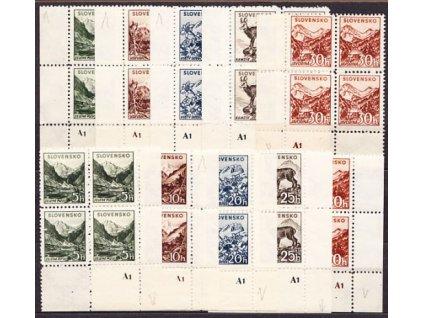 1940, 5-50h Tatranské, průsvitka, roh. 4bloky s DČ, L+P, Nr.47-51, **