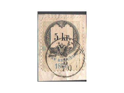 1870, výstřižek vyfr. kolkem 5Kr vyd. 1870