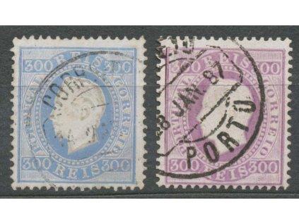 1870, 300R Luis, 2 ks - odstíny, MiNr.45, razítkované, dv
