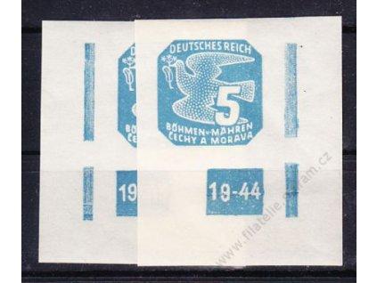 1943, 5h modrá, 2 roh. kusy s DČ 19-44, ochranný rám 2krát přerušen, Nr.NV11, **