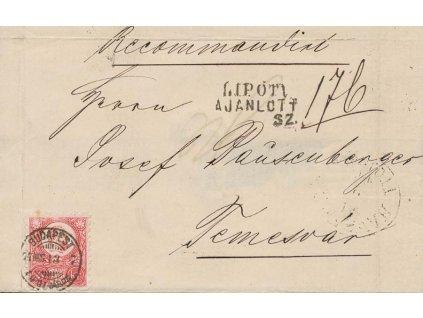 1871, DR Budapest, R-dopis vyfr. zn. 5Kr Franc Josef, dv