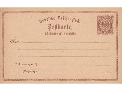 1873, 2Kr Znak, dvojitá dopisnice, MiNr.P4, skvrnka na rubu