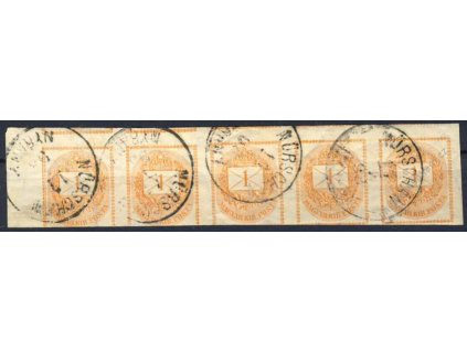 1874, DR Nýřany 17.3.98, 5páska, MiNr.20, přehyby