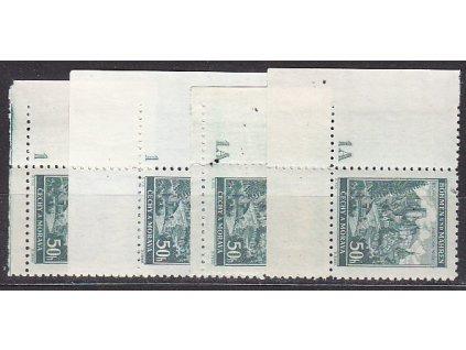 50h Jindřichův Hradec, 4 roh. kusy s DČ 1,1A, úzký a široký okraj, Nr.41, **