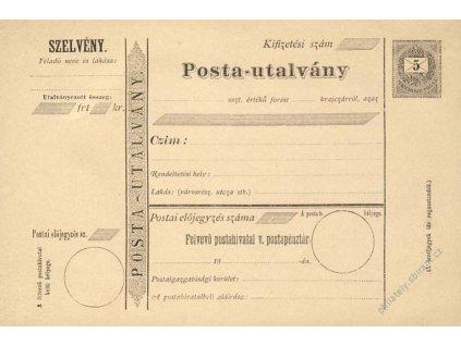 1875, celinový formulář Posta-utalvány 5f Psaníčko
