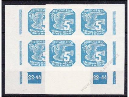 5h modrá, 2 roh. 4bloky s DČ 22-44, L+P, Nr.NV11, **