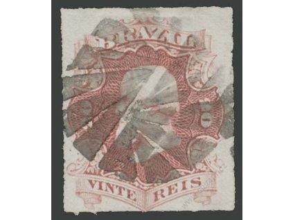 Brasílie, 1876, 20 R Pedro, MiNr.31, razítkované