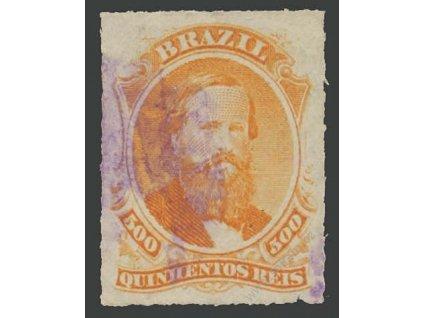 Brasílie, 1876, 500 R Pedro, MiNr.36, razítkované