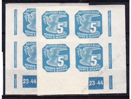 1945, 5h modrá, 2 roh. 4bloky s DČ 23-44, L+P, Nr.NV11, **