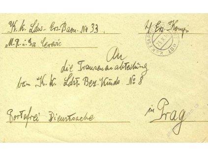 No.180, obálka, zasláno v roce 1916 do Prahy