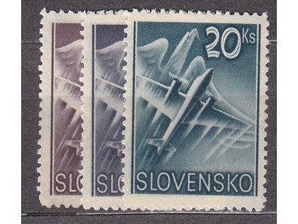 1940, 5-20Ks Letecké, série, Nr.L7-9, **, ilustrační foto
