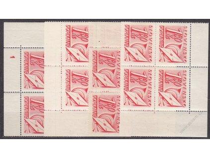 1.30Ks červená, roh. miniatura ve 4bloku s DČ 1, Nr.DL32, **