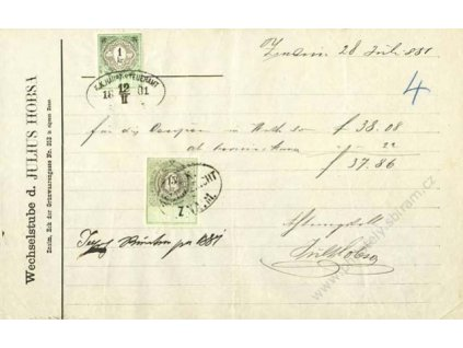 1881, listina s kolkem 1 a 15Kr 1881, Znaim