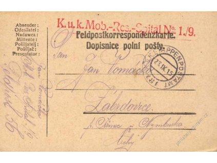 No.181, lístek PP, zasláno v roce 1915 do Čech