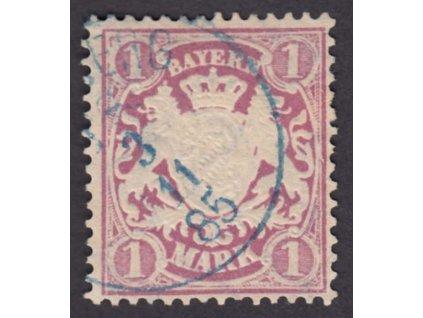 Bayern, 1881, 1M Znak, MiNr.53, modré razítko