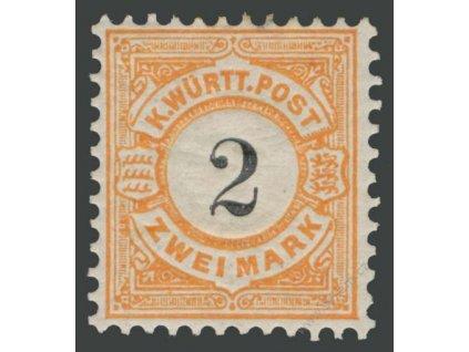 Württemberg, 1881, 2M oranžová/černá, * po nálepce