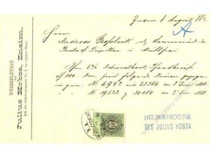 1882, listina s kolkem 15Kr, razítko Znaim