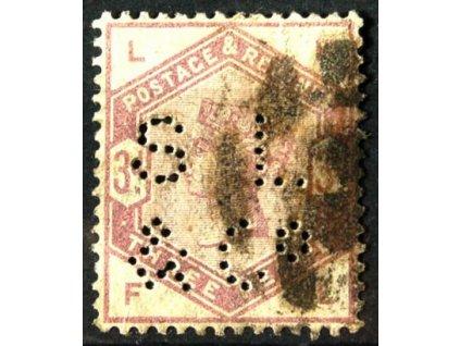 1883, 3P Viktoria, perfin