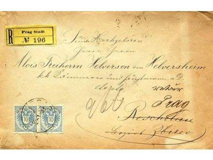 1887, Prag, R-dopis vyfr. zn. 2krát 10Kr