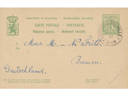 1888, dopisnice 5C MiNr.P52, DR Luxembourg, dvojitá