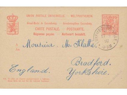 1888, dopisnice 10C MiNr.P51, dvojitá, jednostranně prošlá