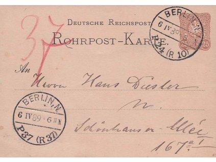 1889, DR Berlin, dopisnice 25Pf Potrubní pošty