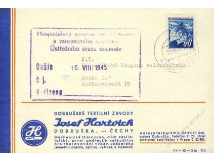 Dobruška-Opočno, 1945, firemní lístek