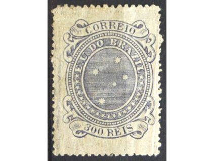 Brasilie, 1890, 300R modrofialová, * po nálepce