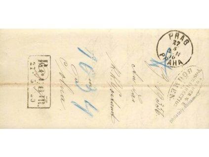 1890, Prag + Direction + Rekomando, skládaný dopis