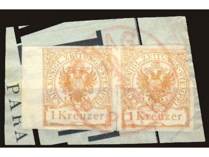 1890, 1Kr Zeitungsstempelmarken, červené razítko