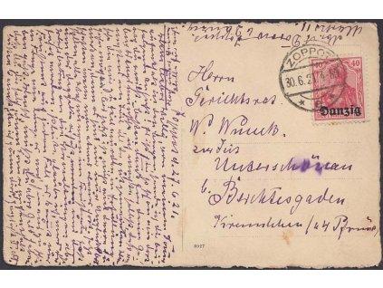 Danzig, 1921, DR Zoppot, pohlednice zasl. do Německa