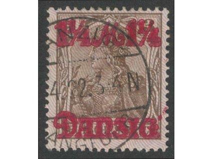 Danzig, 1920, 1 1/4M/3Pf Germanie, razítkované