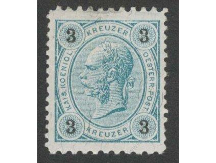 1890, 3Kr Franc Josef, L 10 1/2:12 1/2, MiNr.52Y, těžší *