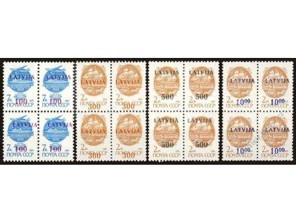 Latvija, 1991, 100K/7K-1000K/2K série, 4bloky, **
