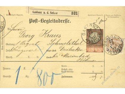 1893, DR Gablonz, formulář Post-Begleitadresse