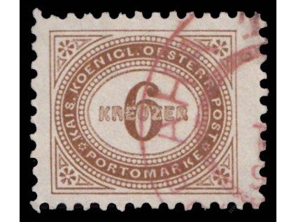 1894, 6Kr doplatní, L 10 1/2, červené razítko, MiNr.5A