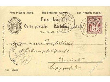 1895, DR Bern, dvojitá dopisnice zasl. do Německa