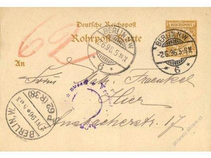 1896, dopisnice 25Pf Orel pro Potrubní poštu