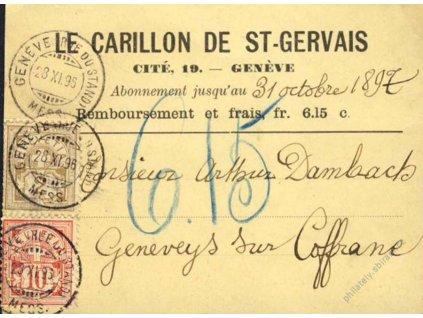 1896, DR Geneve, lístek, potvrzení dobírky