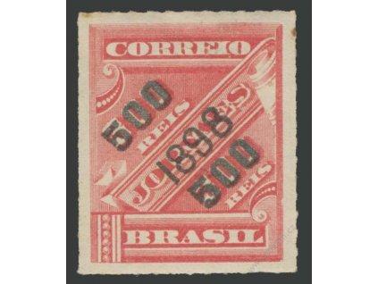 Brasílie, 1898, 500R/300R karmínová, těžší * , skvrnka