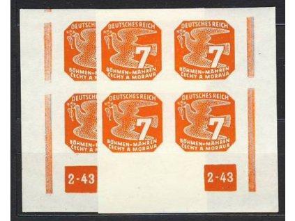 1943, 7h oranžová, roh.4blok s DČ2-43, L+P, přerušený rám, Nr.NV12, **